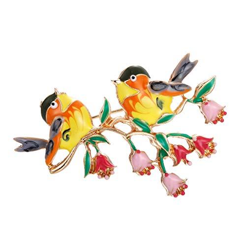 g Ein Paar Vogel Blume Brosche Emaille Exquisite Brosche Weibliche Jacke Pin Haarband ()