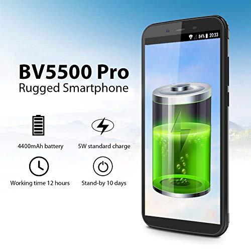Blackview BV5500 Pro 2019 Smartphone Débloqué 4G Ecran, 5,5 Pouces Android 9.0 Telephone étanche, 3Go RAM+16Go ROM Dual SIM Téléphone Incassable, 8MP+5MP, Batterie 4400mAh, Face ID/GPS/GLONASS/Compass