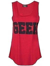 Mix lot nouveau dames néon connaisseur geek impression sweat-shirt gilet sans manche top femmes d'été de gilet taille