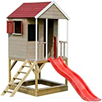 Wendi Toys Casita Infantil de Madera en Plataforma para Exterior |Casa de Aventuras de Verano para niños de tamaño M con tobogán, Escalera, balcón, Estante de Juguete, persianas, Pizarra