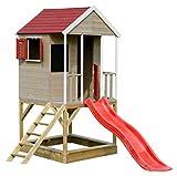 Wendi Toys M7 Summer Adventure House | Sommer Kinder Haus auf Platform | Kinder Holz Garten Spielhaus mit Rutsche, Leiter, Balkon, Spielzeug Regal, Fensterläden, Tafel, Sandkasten