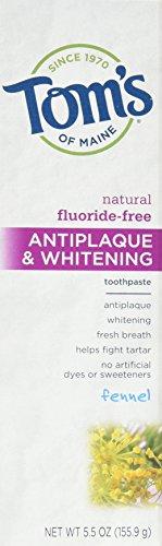 Maine Whitening Zahnpasta (Tom's of Maine, Natural Antiplaque & Whitening Toothpaste, Flouride-Free, Fennel, 5.5 oz (155.9 g))