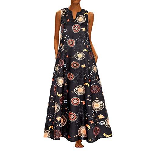Binggong Damen Kleider Elegant Vintage Bohokleid Sommerkleider Ärmellos Maxikleider Große Größen Strandkleid Swing Kleid - Vintage St Patricks Tag T-shirts