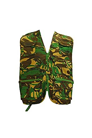 Kids camo camouflage woodland army assault multipocket vest gilet jacket (3-4 years)