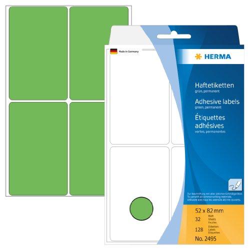 Herma 2495 Vielzwecketiketten (Papier matt, 52 x 82 mm) 128 Stück grün