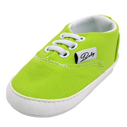 Unisex Baby Sneakers, OverDose Neugeborene Säuglingsbaby Mädchen-Jungen-Krippe schuhe Weiche alleinige Anti Rutsch Turnschuh Segeltuch Schuhe Grün