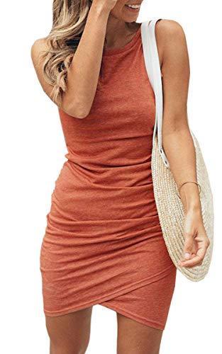 ECOWISH Damen Enges Kleid Sommerkleid Rundhals Kurzarm Kleid Bodycon Unregelmäßig Minikleid 108Rosa XXL