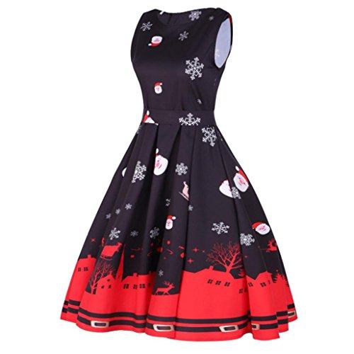etro Weihnachten Abendkleid, CICIYONER Slim Swing Kleider (XXL, A) (Taufe Kleider Für ältere Mädchen)