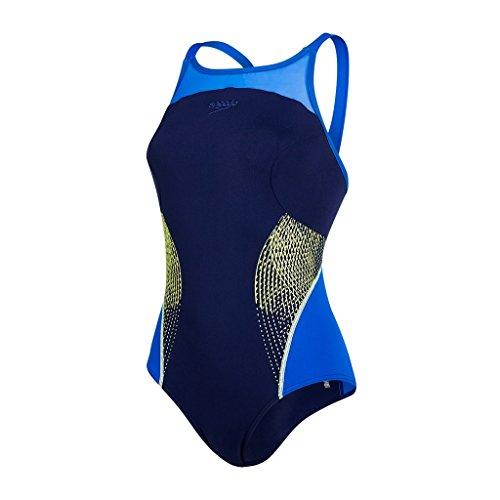 Speedo Damen Fit Splice Xback Swimwear, Navy/Beautiful Blue/Lime Punch, 44 (Schwimmer Rumpf)