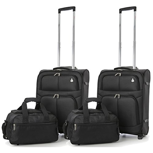 Aerolite 55x40x20cm Ryanair Maximum Allowance 42L Lightweight Travel Carry On Hand Cabin Luggage Suitcase with 2 Wheels – Also Approved for Easyjet, British Airways. (2x Suitcase,Black + 2x 2nd Bag)
