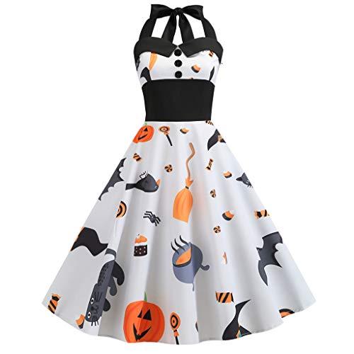 GOKOMO Halloween Neckholder Kleid Damen Elegant Vintage 50er 1950er Retro Rockabilly Kleider Petticoat Faltenrock Cocktail Festliche(Weiß-a,Large) -