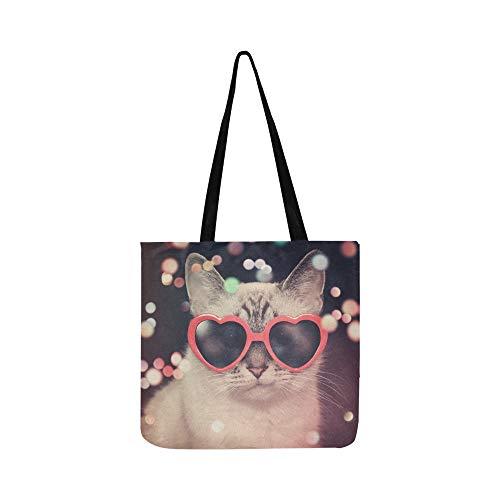 Weiß Nette Katze Rote Herz Sonnenbrille Leinwand Tote Handtasche Schultertasche Crossbody Taschen Geldbörsen Für Männer Und Frauen Einkaufstasche