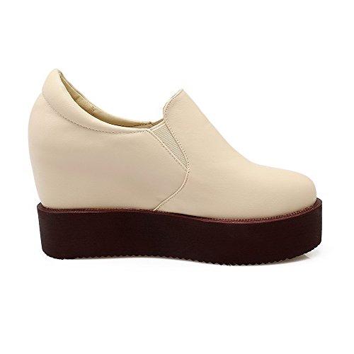 AllhqFashion Damen Hoher Absatz Weiches Material Rein Rund Zehe Pumps Schuhe Cremefarben