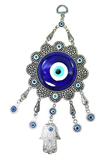 Turco azul (Nazar) diseño de ojo, Hamsa Mano amuleto colgante de pared decoración del hogar protección buena suerte bendición inauguración de la casa