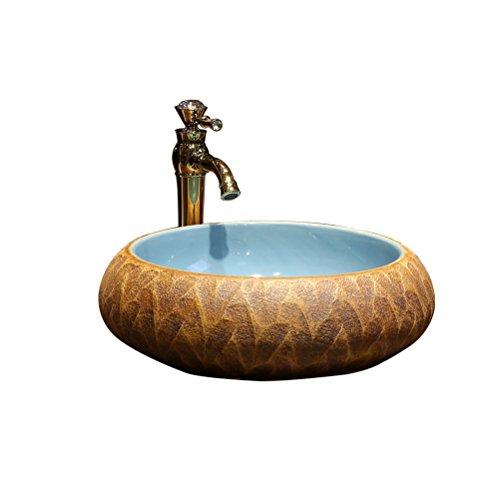 HAI Kunst über Zähler Waschbecken Badezimmer Keramik Waschbecken Retro Waschbecken Runde Bühne waschen (43x15cm) Einbauwaschbecken