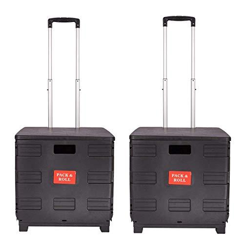 DXP 2er Einkaufstrolley bis 35kg Transport Trolley klappbar Einkaufswagen Transportwagen Klappbox Shopping Trolley Aluminium Kunststoff (Schwarz/rot)