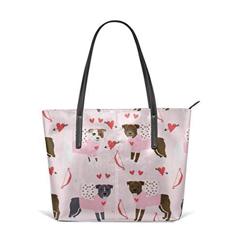 hulili Frauen weiches Leder Tote Umhängetasche Pitbull Love Bug Cupid Hunderasse Pitbulls Mode Handtaschen Satchel Geldbörse