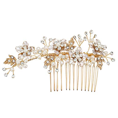 AmDxD Damen Haarkamm Blatt Blumen Haarschmuck Haare kämmen mit Weiß Zzirkonia für Alltag - Gold (Fantasie Leben Engel Kostüm)