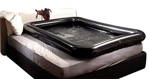 Schwarzes Laken aus Lack, mit aufblasbarem Rand, 140x200cm - Massagespiele-Natursektspiele-Squirting-Natursekt-Fetisch-Fetish-Zubehör-Bettzubehör-Bett-Lustwiese-Sex Möbel-Sexspiele mit Wasser