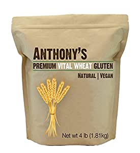 Vital Wheat Gluten by Anthony's (4 Pounds), High in Protein (4lb)