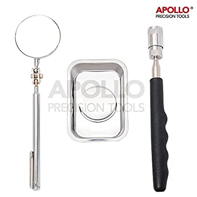 "Apollo 3 Piece Pick-up tool and Magnetic Tray Set- Inspection Mirror, Strong 30"" Magnetic Pick Up Tool with built-in LED light, Rectangular Magnetic Tray for Nuts Bolts Screws Storage- Perfect for Mechanics, Hobby, DIY, Electronics or Retrieving Lost Jewe"