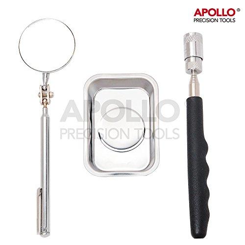Kit Apollo 3 pièces dont : un collecteur télescopique (jusqu'à 750 mm) et aimanté avec éclairage LED intégré, un miroir d'inspection télescopique orientable et un bac à pièces aimanté aussi. Idéal pour les travaux de mécanique, de bricolage et de réparation d'appareils d'informatiques, d'électronique et de joaillerie