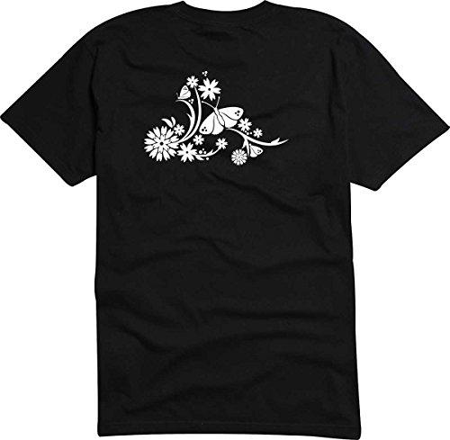 T-Shirt D035 T-Shirt Herren schwarz mit farbigem Brustaufdruck - Tribal Blume / Schmetterling / Natur Weiß