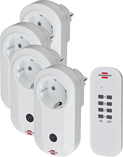 Brennenstuhl Funkschalt-Set RC CE1 4001 (4er Funksteckdosen Set Innenbereich, mit Handsender und Kindersicherung) weiß Weißer Elektrischer Ebene