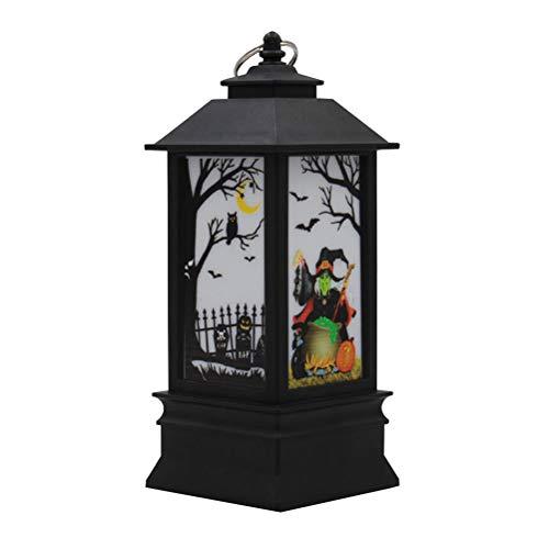 Teelichthalter Glitter Flammenlose Kerzenlicht Hexe Muster Kerze Nacht Lampen Für Home Party Dekoration Halloween Tag Geschenk ()
