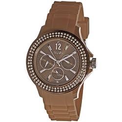 Nuvo - NU 134 - Armbanduhr für Damen - Quartz - Analog - Braunes Armband aus Silikon - Swarovski Elemente und Diamanten - Modisch - Elegant - Stylish -