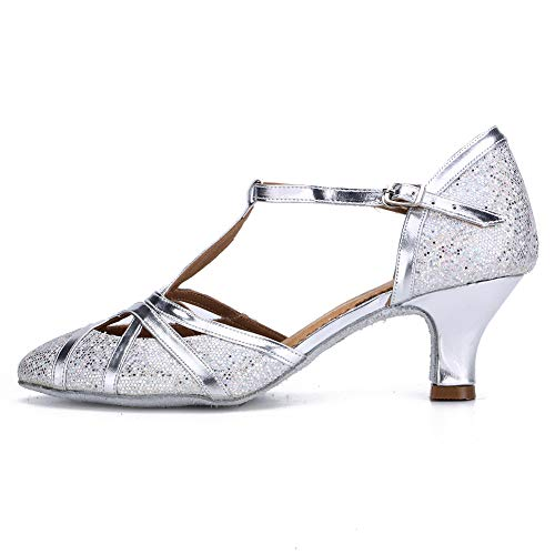HROYL Zapatos de Baile para Mujer Brillo de Cuero Latino/Chacha/Samba/Moderno/Zapatos de Baile de Jazz...