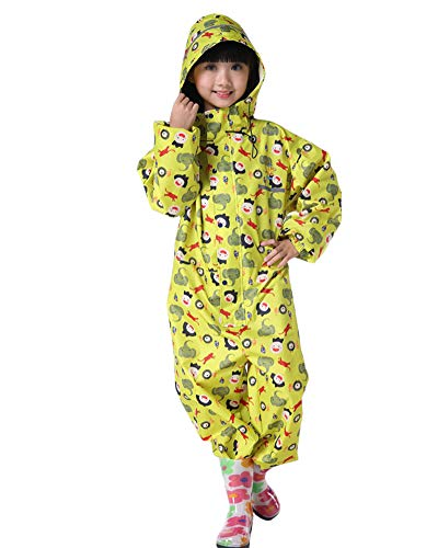 Children Kids Rainsuit Waterproof Rainwear Windproof All-in-One Rain Suit Romper Ski Suits Hooded for Girls and Boys Outdoor Daily