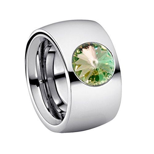 Heideman Ring Damen Coma 14 aus Edelstahl Silber farbend poliert Damenring für Frauen mit Swarovski Stein Kristall gelb grün im Fantasie Edelsteinschliff 10mm