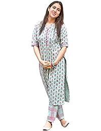 Kurtikor Women's Cotton Straight Printed Kurti with Pant for Young Girl
