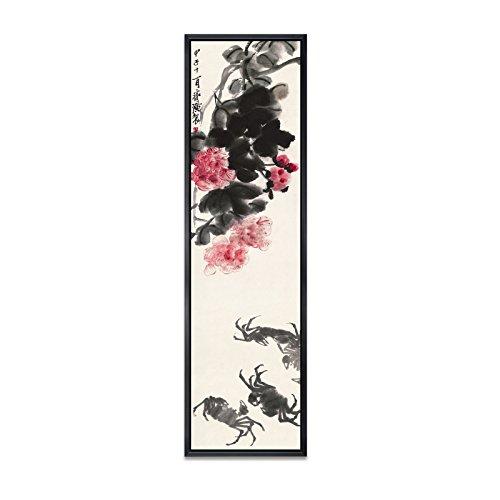 BAGEHA Bilder Poster Kunstdrucke Skulpturen Wall Picture Wall Art New Chinese Paintings Zen Ink Paintings Living Room Sofa Backdrop Decorated With Four Murals,35X120,B-Lotus Four Crabs