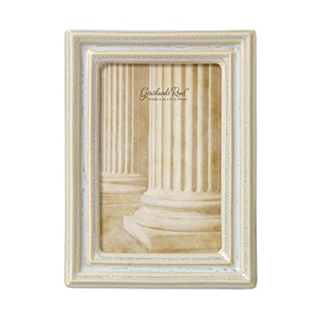 Grasslands Road Feather Gray Thin Mold Photo Frame, 4 by 6-Inch, Reactive Glaze, Ceramic, Gift Boxed by Grasslands Road
