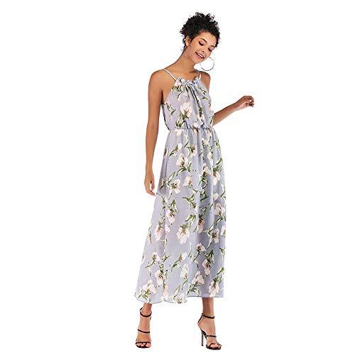 Mebeauty-CL Robe Femme Dames Floral été Robes en Mousseline de Soie Cocktail Robe de Bal Robe Taille Haute Robe Vintage Robe d'été (Couleur : Bleu Ciel, Taille : L)