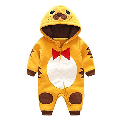 Baby Strampler Winter Kleidung - Baby Mädchen Tier Einteiler Overall Reißverschluss Outfit Overall 0-12 Monate Yuxin