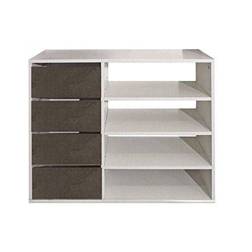 INSIDE Meuble à chaussures MIRAGE blanc design 4 tiroirs aspect béton