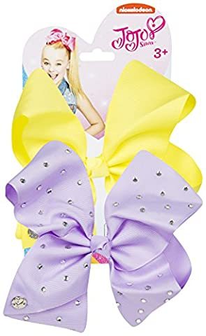 JoJo Bows Signature Collection 2 x Large Hair Bows - Variety of Stylish Colors and Designs - Best Present for Your Little Girl (Neon Yellow - Lavander)