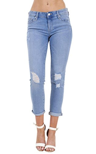 Ex Highstreet Ladies Crop Denim Jeans Holiday Stretch 3/4 Ripped Summer Pockets Rip Pants
