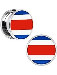 9e8b39bf7a91 Cuerpo Caramelo Acero Inoxidable Costa Rica Bandera Ajuste Tornillo Doble  Borde Bujía Par ...