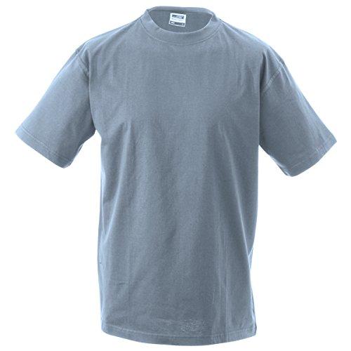 JAMES & NICHOLSON Herren T-Shirt, Einfarbig Grau - Gris chiné foncé