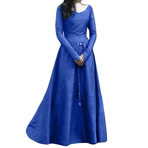 (Saoye Fashion Damen Maxikleid Langes Elegantes Einfarbig Vintage Langarm Renaissance Mittelalterlich Kleidung Bandbreite Partykleid Abendkleider (Color : Marine, Size : 2XL))