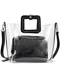 BECLINA Women's Classy Transparent Waterproof Tote Handbag with Black Shoulder Strap
