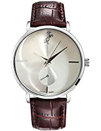 Style Keepers New Horse Analog Ultra Thin Silver Bezel White Dial Genuine Brown Leather Belt Wrist Watch For Men