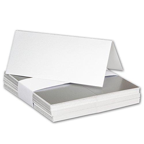 100x Tischkarten in SILBER METALLIC // Größe: 100 x 90 mm (gefaltet 100 x 45 mm) // 250 g/m² - Sehr schwere und stabile Qualität // Aus der Serie FarbenFroh von NEUSER! (250g Serie)