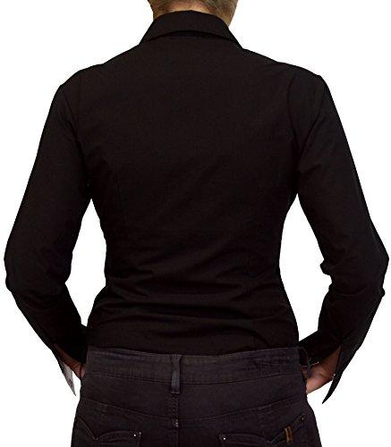 102-13 dames mesdames blouse Body manches longues solide coloré noir bleuclair blanc rouge S M L XL XXL. Noir