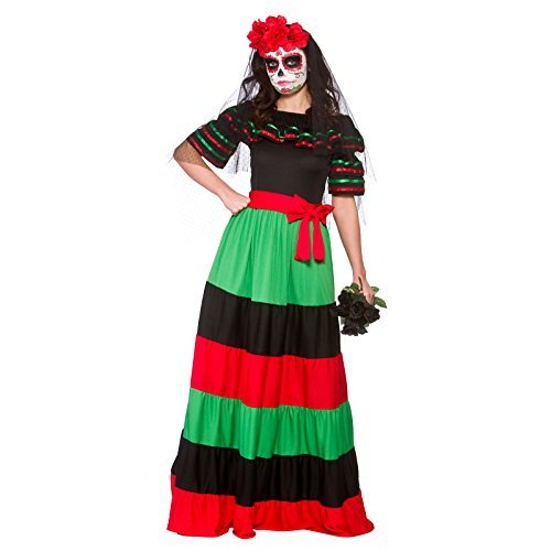 Adults Womens Mexican Day Of The Dead Senorita Fancy Dress Mask /& Veil Accessory