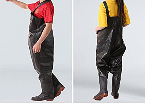 Nylon/PVC Chest Wader Pants Fisherman Boots–Unisex Silk Fabric–Waterproof Inner Pockets